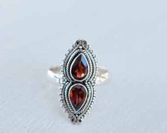 Red Garnet Ring ~ January Birthstone ~ Sterling Silver 925 ~ Jewelry ~ Handmade ~ Everyday ~ Casual ~ Hippie ~ Bohemian ~Natural ~Gift~MR057