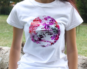 Japanese Garden T-shirt - Art Tee - Fashion women's apparel - Colorful printed tee - Gift Idea