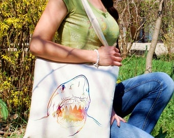 Shark tote bag -  White shark shoulder bag - Fashion canvas bag - Colorful printed market bag - Gift Idea
