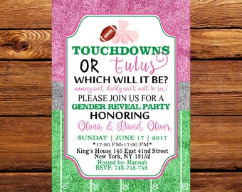 Touchdown or Tutus, Gender Reveal Invitation, Touchdowns or Tutus Gender Reveal Invitation, Football or Ballet, Tutus or Touchdowns 156