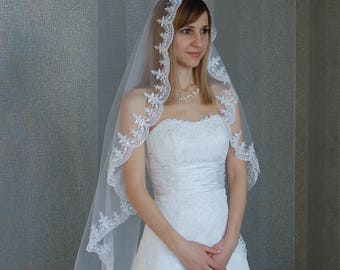 Ivory mantilla veil with beaded, Fingertip veil, Bridal veil, Veil with beaded, Cathedral veil Veil for cathedral Сhurch veil, FREE SHIPPING