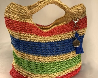 Bright Striped Straw Bag with Anchor Charm and Blue Tassle