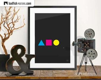 CMYK Print, Modern Graphic Style Poster, Minimalist, Design, Cosmopolitan, Digital Art, Wall Art, Gift, Cyan, Magenta, Yellow, Black, Home,