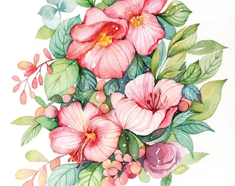 post card - Pink blooming flowers