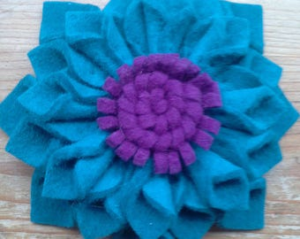 fur felt flower hair clip
