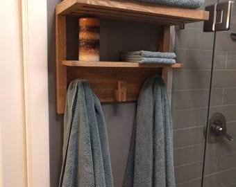 Weathered Oak Bathroom Towel Rack