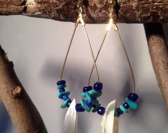 Creoles drop gold, pearls and shells