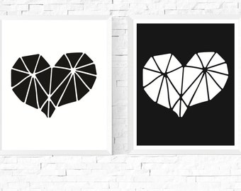 50%OFF Sale - Geometric Heart Art Printables Set of 2 | Black & White | Abstract Art | Minimalist | Hygge | Scandinavian | Monochromatic