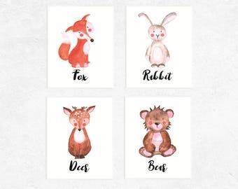 Woodland Animals Printables | 4 Set | Fox | Deer | Bear | Rabbit | Nursery Prints | Watercolor | Baby Art | Woodland