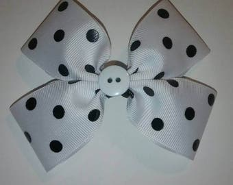 Polka dot ribbon hair bow