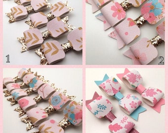 """Floral Gold Hair Bow on Alligator Clip 3"""""""