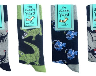 These Australian designed novelty socks, mens socks, cool socks, colourful socks,  funky socks, have unique patterns of dangerous animals