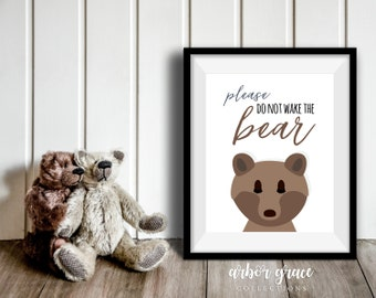 Don't Wake the Bear, 11x14 Digital Download Prints, Wall Art, Boy Nursery, Bear Nursery, Playroom, Arbor Grace Collections