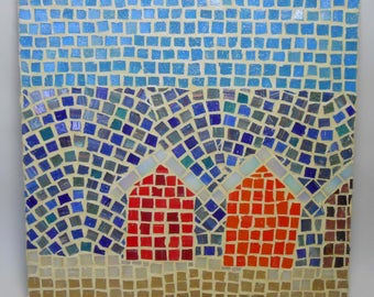 Mosaic Beach Huts Wall Art Glass
