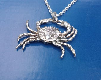 Sterling Silver Crab Necklace