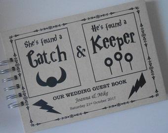 Personalised Vintage WEDDING Guest Book Photo Album Scrapbook CATCH & KEEPER Memory Book Anniversary She's Found A Catch He's Found A Keeper