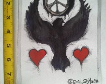 Black Dove Peace Gouache Painting