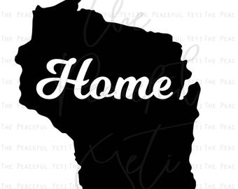Wisconsin Home State SVG - State Home - Instant Download jpeg png svg pdf eps dxf