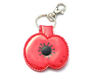 Red Felt Poppy Key Fob Bag Charm Key Ring Embroidery