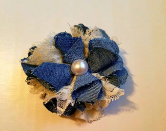 Gorgeous denim and lace hair bow