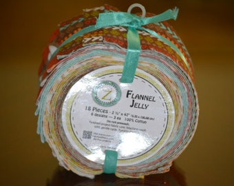 """Land of Whimsic Low Monkey Flannel Jelly Roll 18 - 2 1/2"""" strips"""