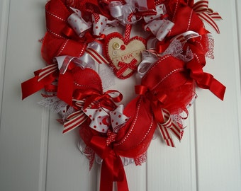 Heart shaped Love Ribbon Wreath Valentine's wreath wedding wreath heart door hanging home decor love wreath