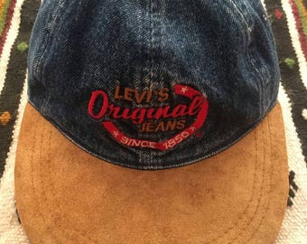 90s LEVI'S Embroidered  Logo Stone Washed Denim X Suede Strapback Hat
