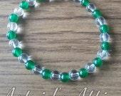 Clear Quartz and Emerald Bracelet
