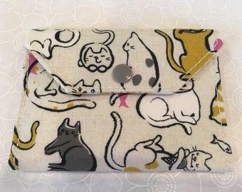 Cat lovers change wallet, women's wallet, bifold wallet, cotton wallet, handmade wallet