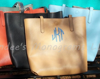 Monogrammed Handbag, Monogrammed Tote, Monogrammed Purse, Monogrammed Faux Leather Handbag, Monogrammed Faux Leather Tote