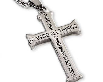 Philippians 4:13 Jewelry Cross Necklace STRENGTH Bible Verse Men Woman Stainless Steel