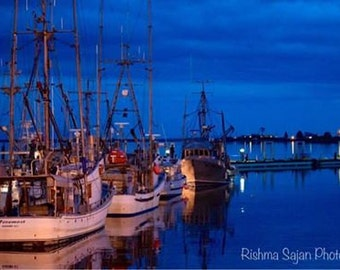"Marina~ Boats~ Wall Art~ WestCoast~ Canada~ British Columbia~ Vancouver Island~ Fine Art Photography~ ""Marina After Sunset"""