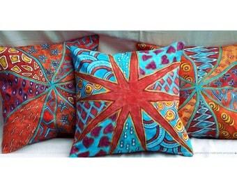 Orange Linen pillow set pillow cover set Summer Linen Colorful pillow case Sofa cushion Patio cushion cover art outdoor pillow gift