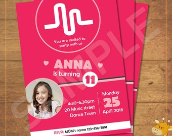 Musical.ly invitations, PERSONALIZED, invitation for birthday party, musically party - Digital file