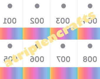Live Sale Mirrored Numbers, Rainbow (with holes to hang on clothing hangers) - 200 numbers - Digital Download