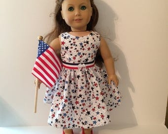 18 Inch Doll Clothes  4th of July Dress with Stars Optional Red Mary Janes With American Flag Fits Like American Girl Doll Clothes