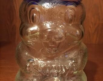 Vintage Skippy Peanut Butter 100th Anniversary Glass Chipmunk coin bank/jar/piggy bank.