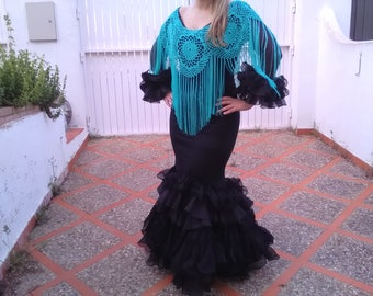Crochet poncho with Cuquillo thread in aquamarine, poncho for flamenco costume, poncho for party costume. Valentine's Day Gift