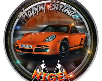 """Porsche Cayman Personalised Edible Icing. Birthday Cake Topper Decoration 7.5"""""""