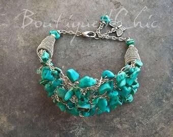 Turquoise bracelet, turquoise bangle bracelet, turquoise cuff, boho bracelet, gift for her