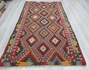 5' 2''x9' 3''Handwoven vintage decorative colourful Turkish kilim rug