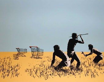 BANKSY **READY to HANG** /Trolley hunters/Canvas Giclee Prints Street Art Graffiti Various Sizes