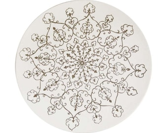 Silver Medallion Serving Plate, silver, white