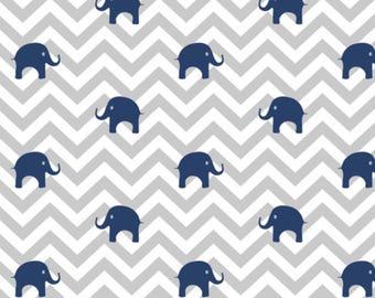 Baby Elephants Navy & Gray Chevron Baby Blanket, Baby Boy Blanket, Baby Minky Blanket, Blue Baby Blanket, Gray Baby Blanket, Toddler Blanket