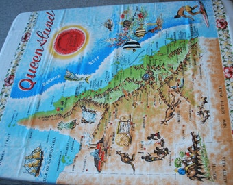 Vintage Tablecloth Large Queensland Map Greetings From Mackay