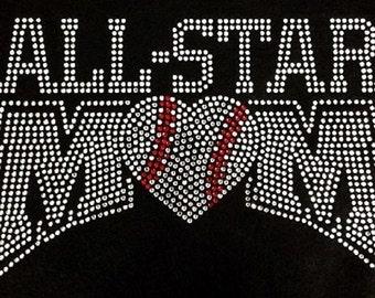 All Star Mom Baseball Rhinestone Iron on Transfer                                                               O0TL