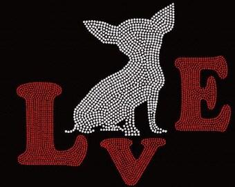 Rhinestone Chihuahua Love Ladies T Shirt   or DIY Iron on transfer                                                    WZ7N