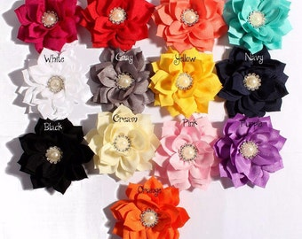"""Lotus Flower With Rhinestone Pearl Button For Girls Hair Accessories Double Fabric Flowers For Headbands Diy Headband Flower Supplies 3.6"""""""