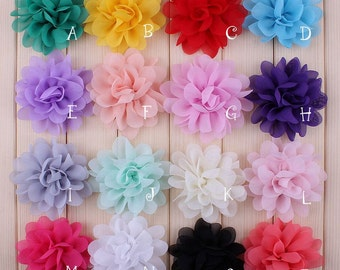 "2.8"" Artificial Chiffon Silk Flowers For Baby Girls Hair Clips Accessories Soft Petal Peony Fabric Flowers For Headbands"