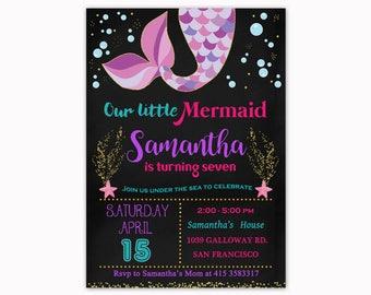 Mermaid Birthday Invitation, Under the Sea Birthday Invitation, Mermaid Birthday Invite, Summer Beach Party, Summer Pool Party, Chalkboard